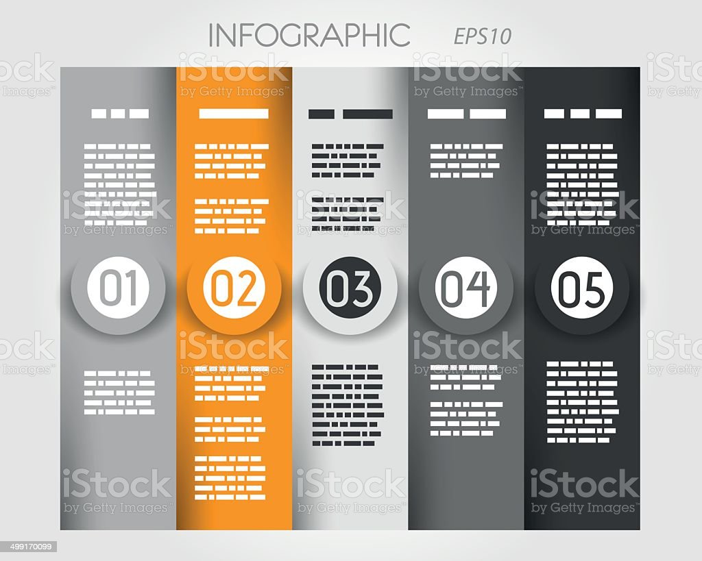 orange column infographic with big rings in middle royalty-free stock vector art
