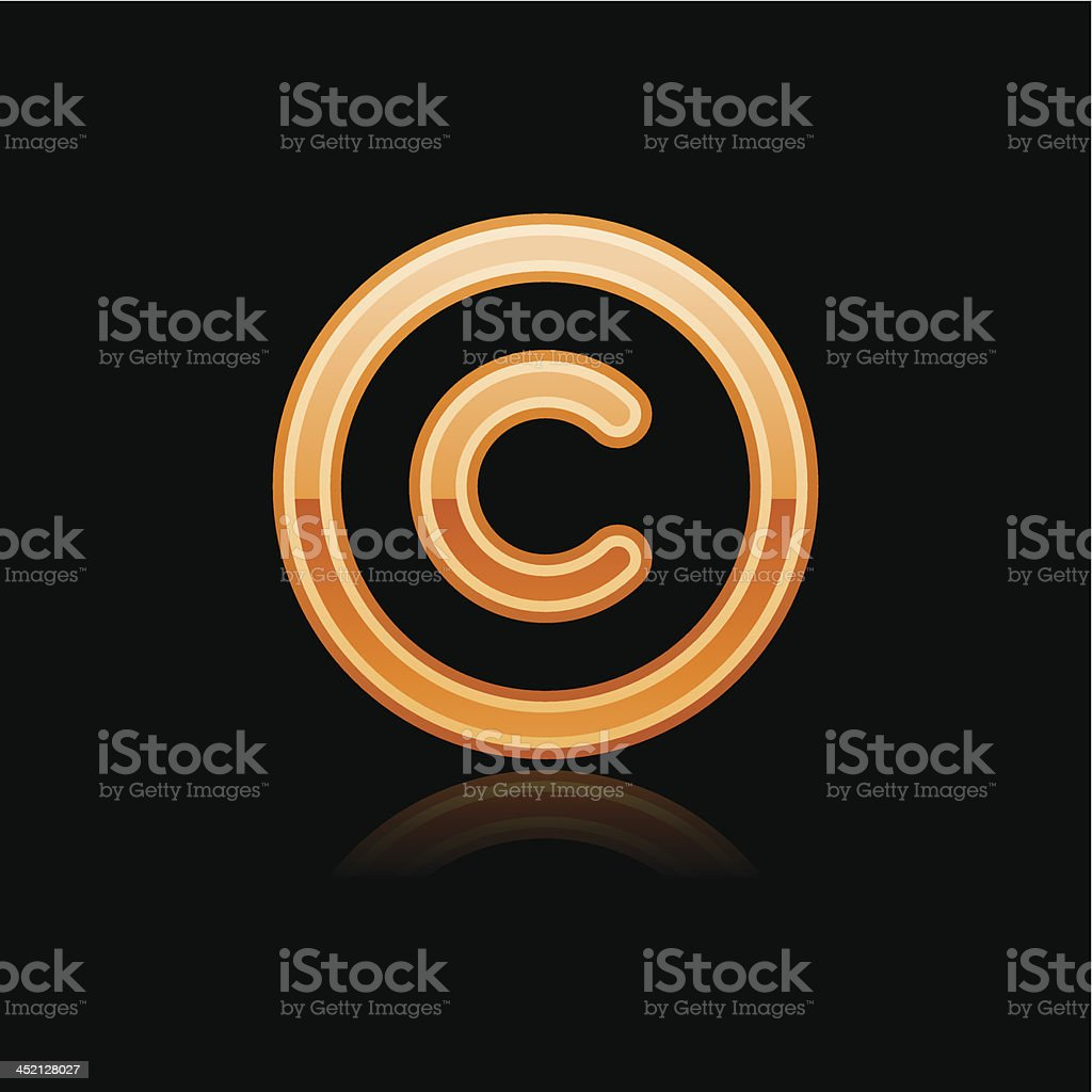 Orange copyright sign metal icon chrome pictogram web internet button vector art illustration