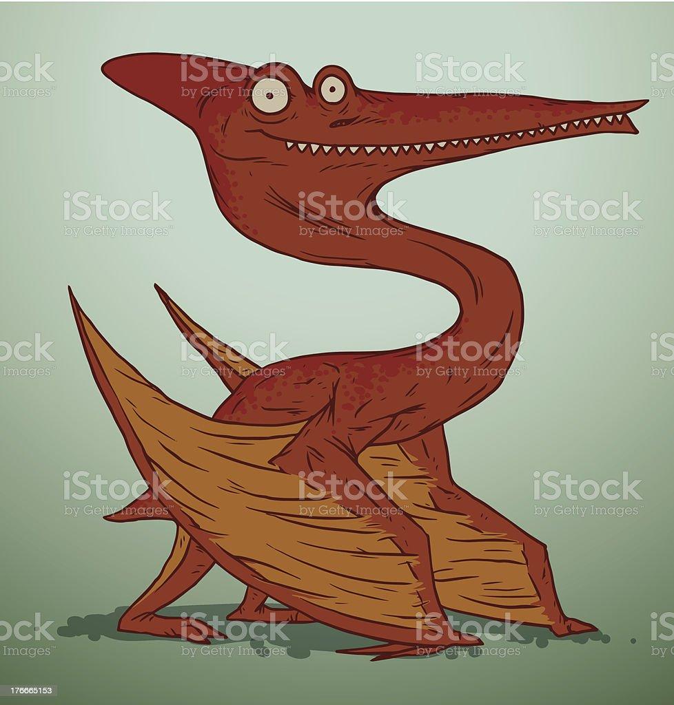Orange cute dinosaur royalty-free stock vector art