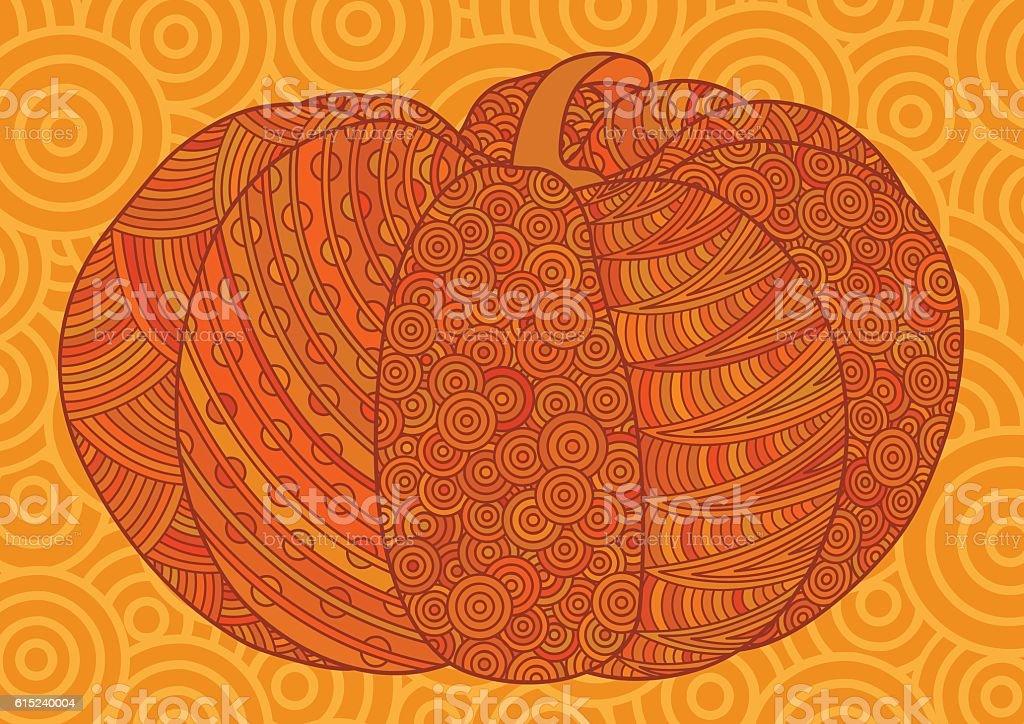 Orange decorative pumpkin for Halloween and thanksgiving. vector art illustration