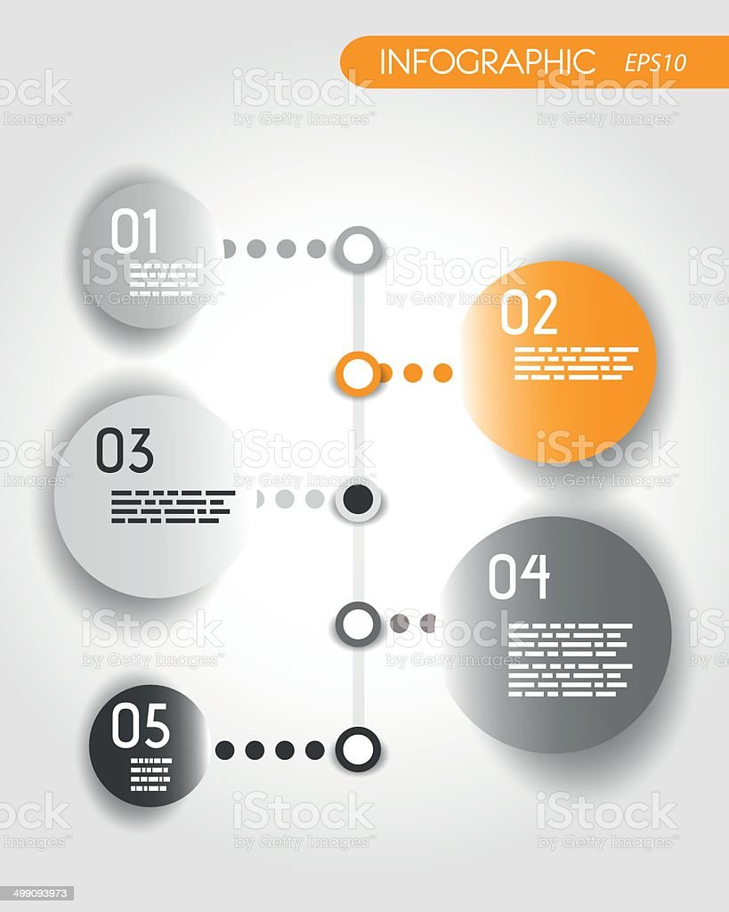 orange dotted timeline with rings royalty-free stock vector art