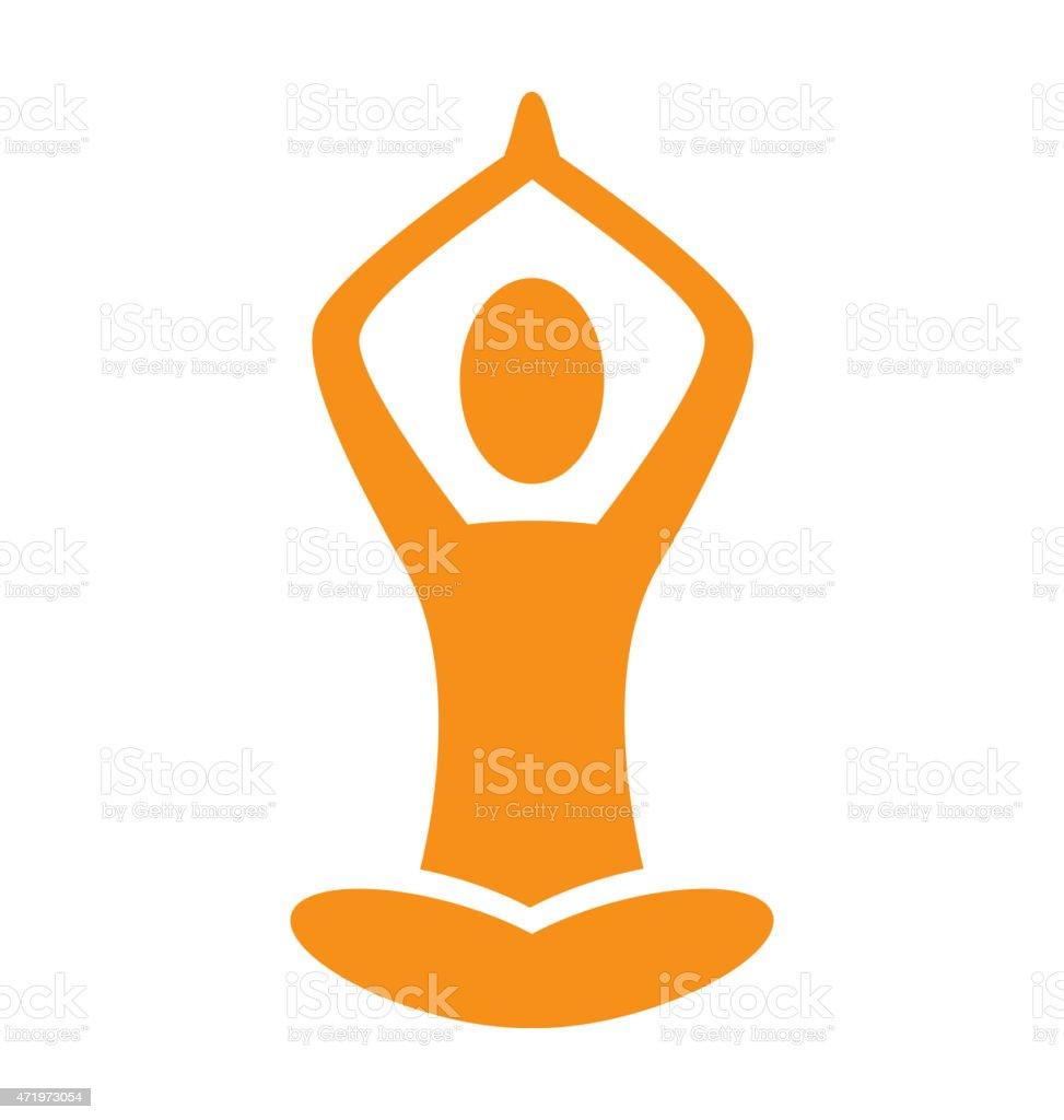 Orange emblem Yoga pose isolated on white vector art illustration