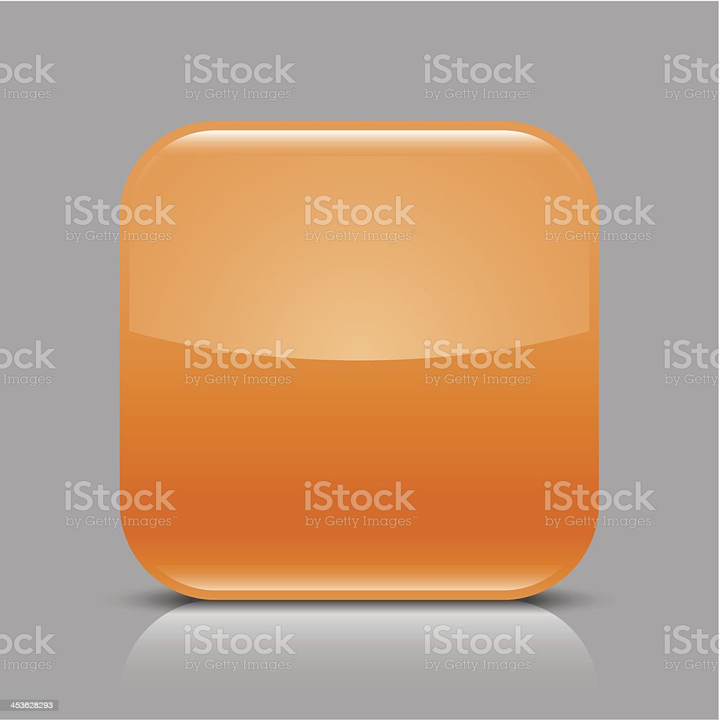 Orange empty glossy icon blank rounded square web button royalty-free stock vector art