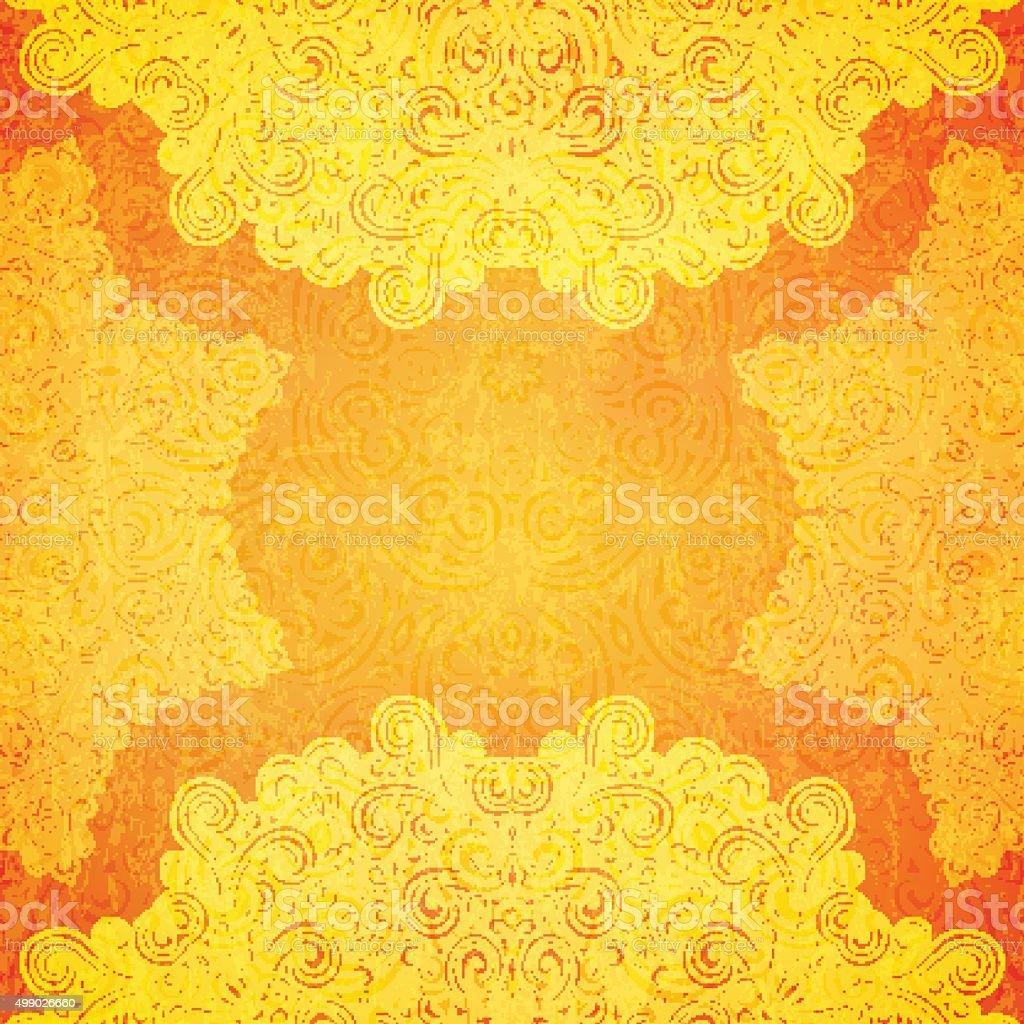 Orange ethnic background vector art illustration