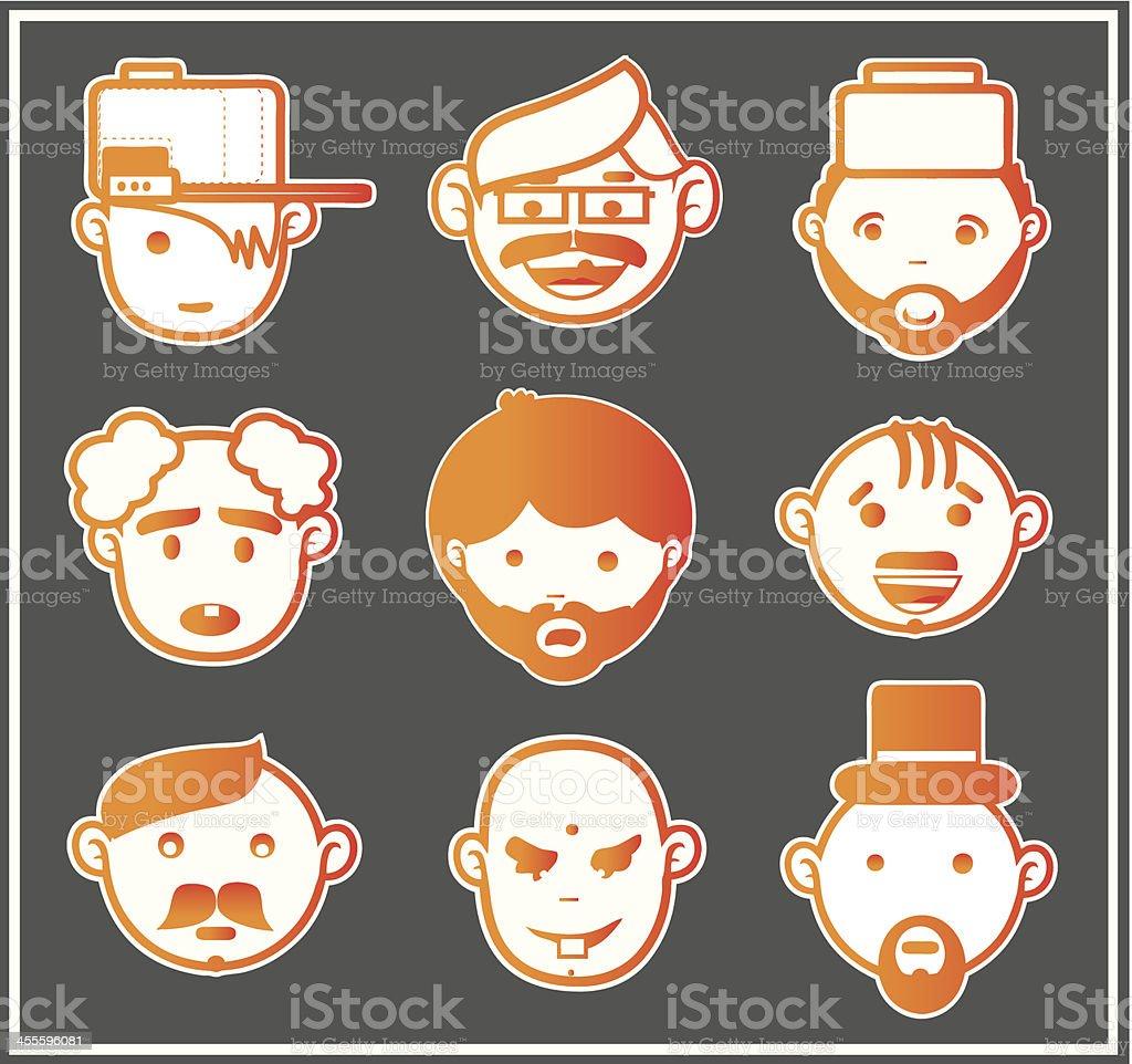 Orange faces 1 royalty-free stock vector art