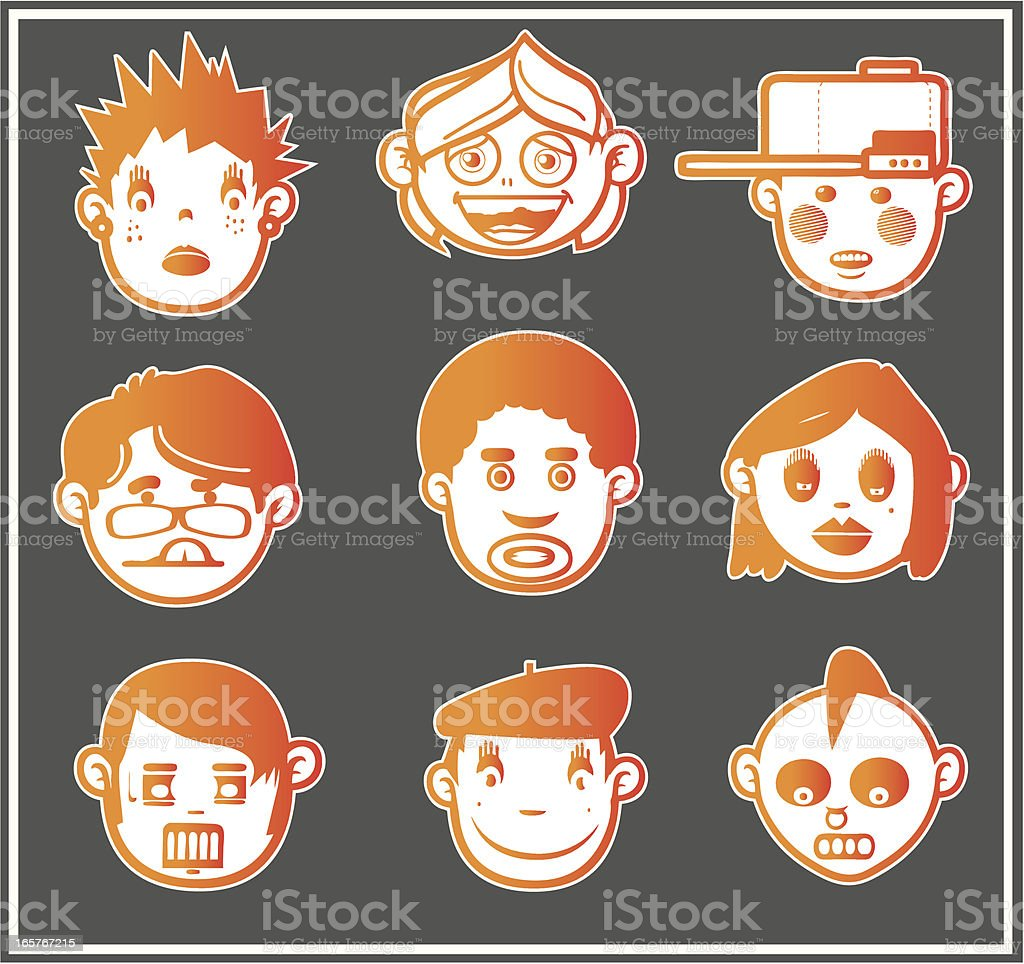Orange Faces 4 royalty-free stock vector art