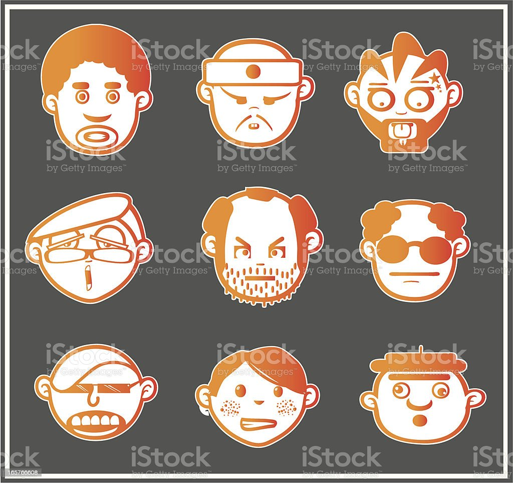 Orange faces 5 royalty-free stock vector art