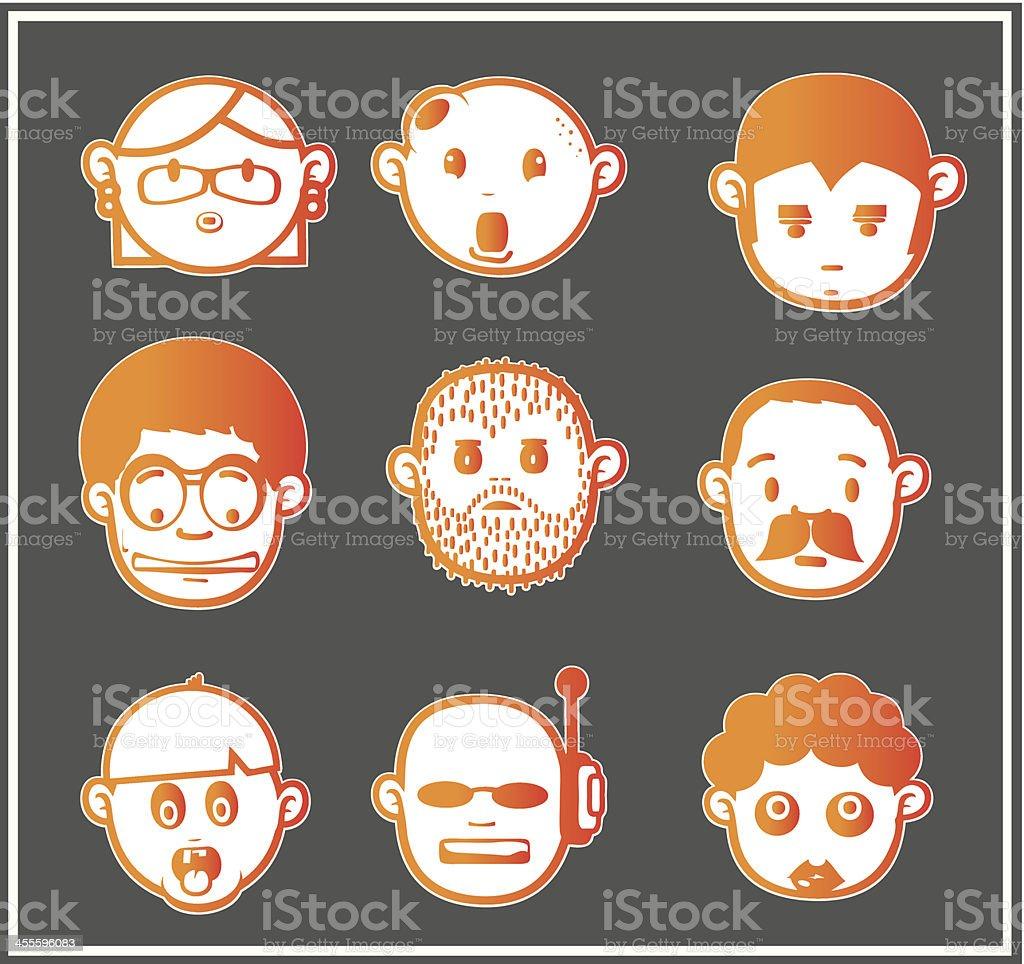 Orange faces 7 royalty-free stock vector art