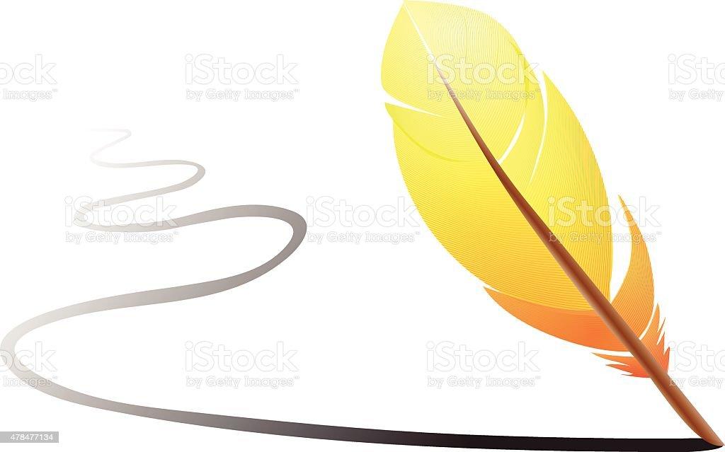 Orange feather vector art illustration