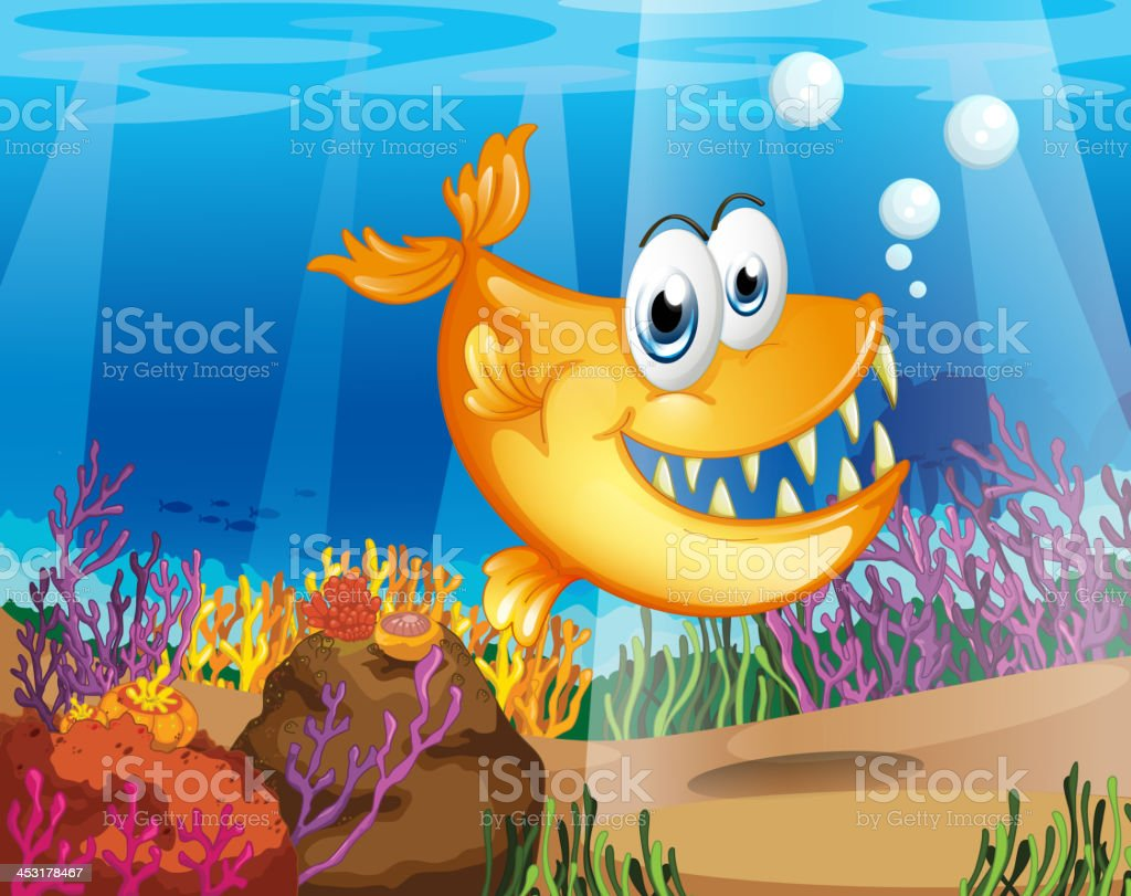 orange fish near the coral reefs royalty-free stock vector art