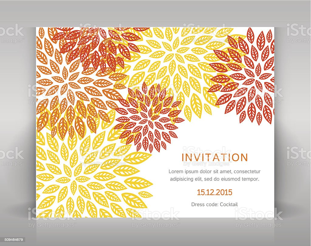 Orange floral invitation. vector art illustration
