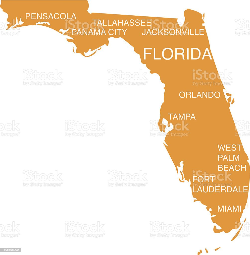 Orange Florida state map on white background vector art illustration