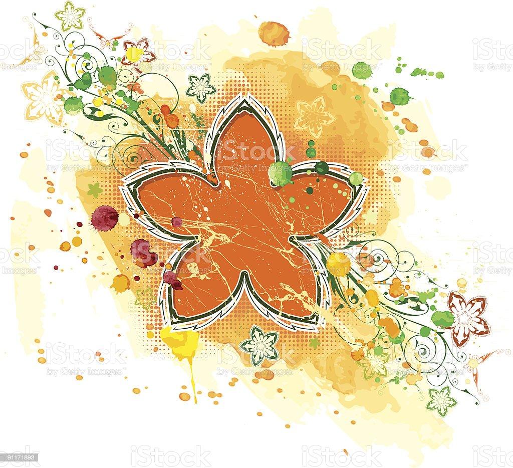 Orange flower & watercolor background royalty-free stock vector art