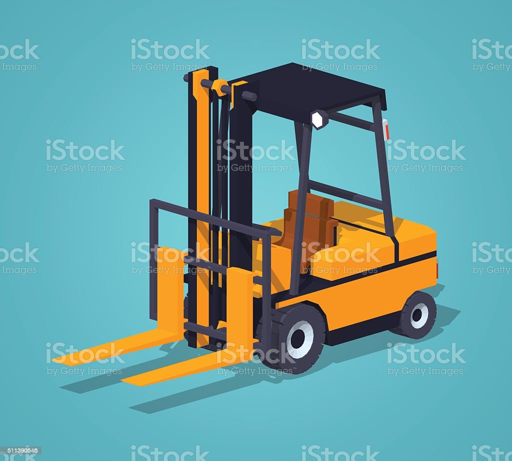 Orange forklift truck vector art illustration