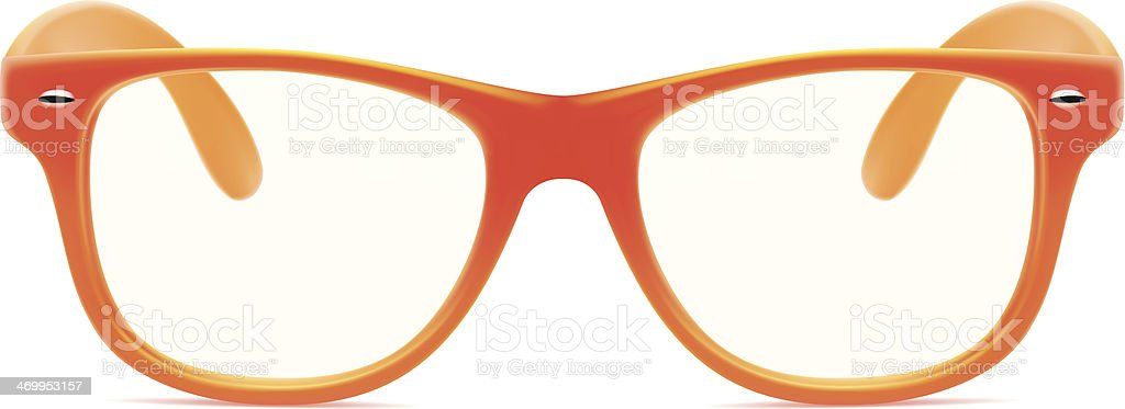 Orange framed glasses with no lenses vector art illustration