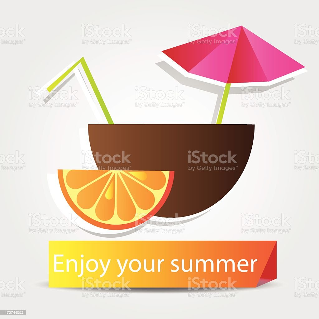 Orange  Fruit cocktail vector art illustration