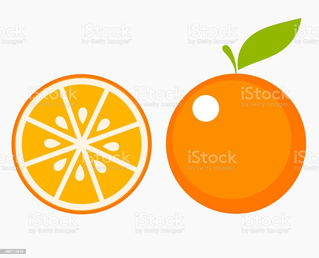 Orange fruit slice vector art illustration