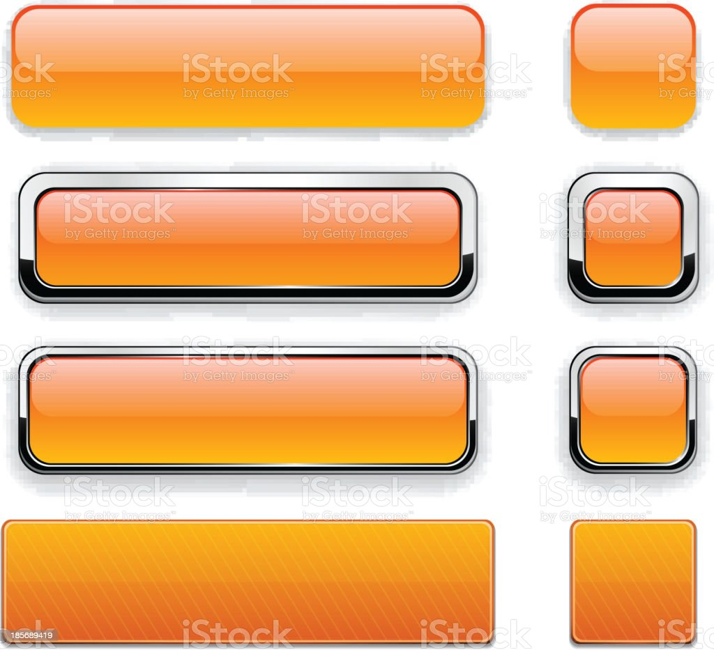 Orange glossy web buttons with different borders vector art illustration