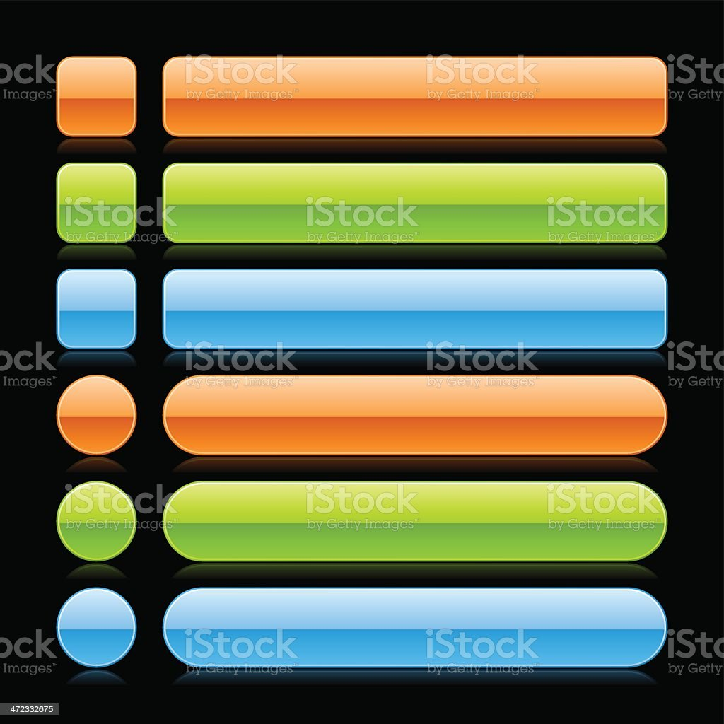 Orange green blue empty button web icon square circle rectangle royalty-free stock vector art