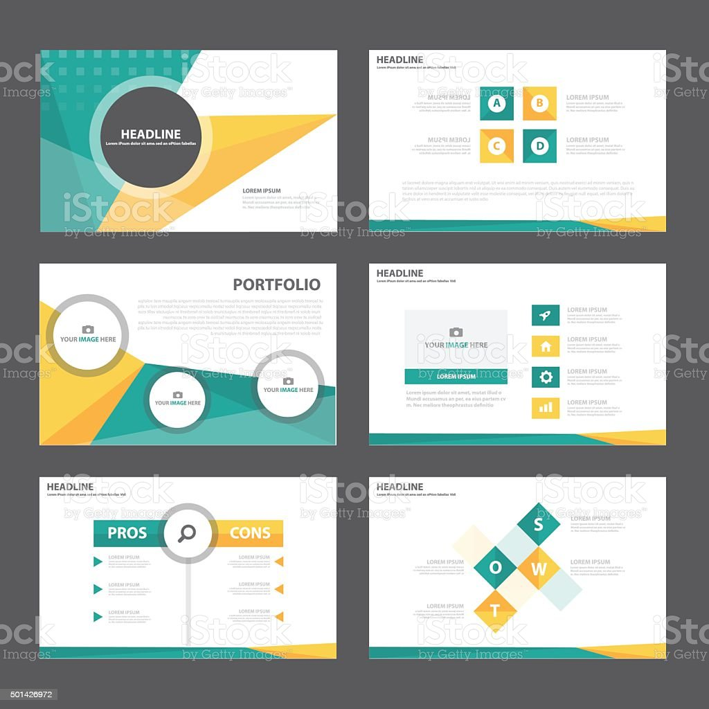 Orange green infographic presentation template flat design vector art illustration