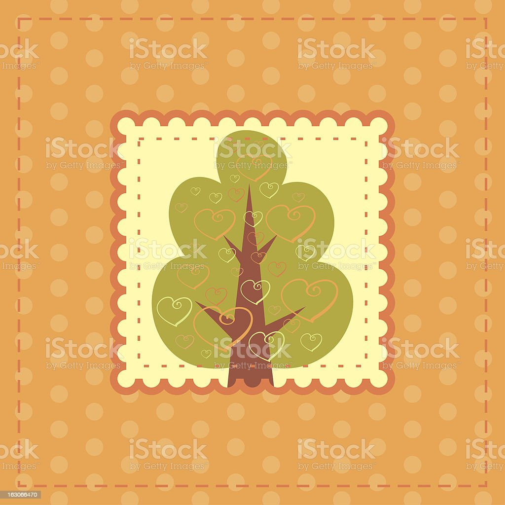 orange greeting card with tree in love royalty-free stock vector art