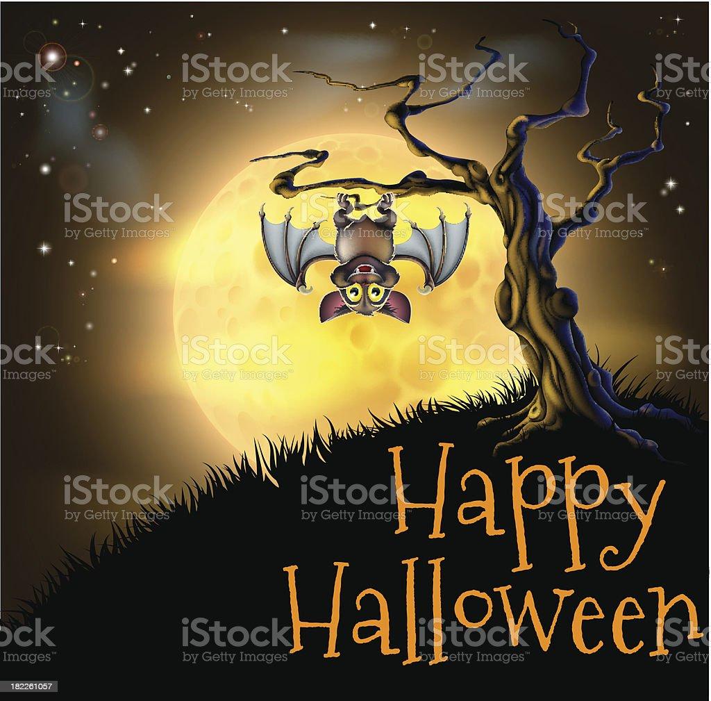 Orange Halloween Vampire Bat Background royalty-free stock vector art