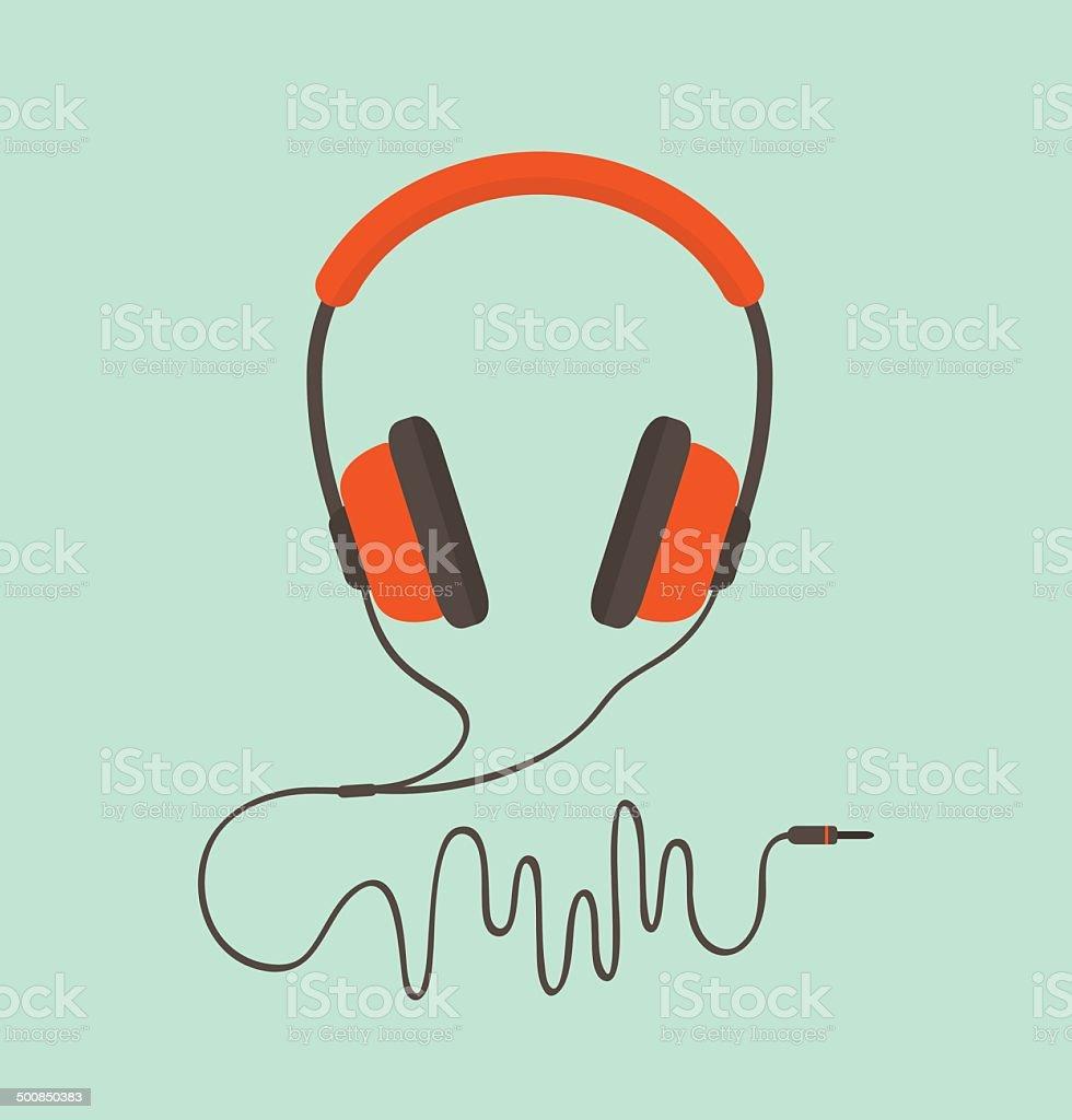 Orange headphones vector art illustration