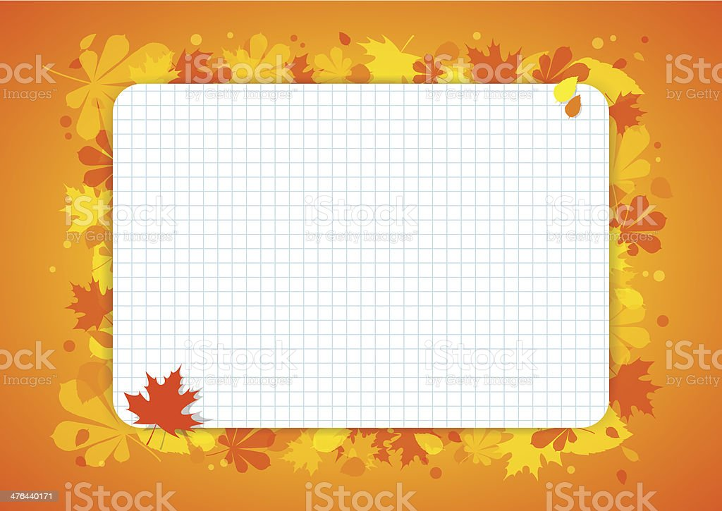 Orange horizontal background with colourful leaves and page from notebook. royalty-free stock vector art