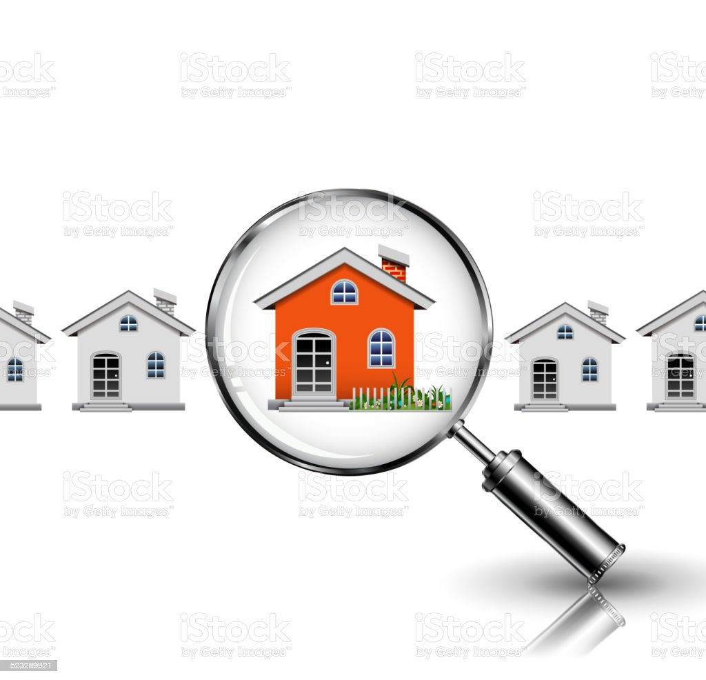 Orange House search vector art illustration