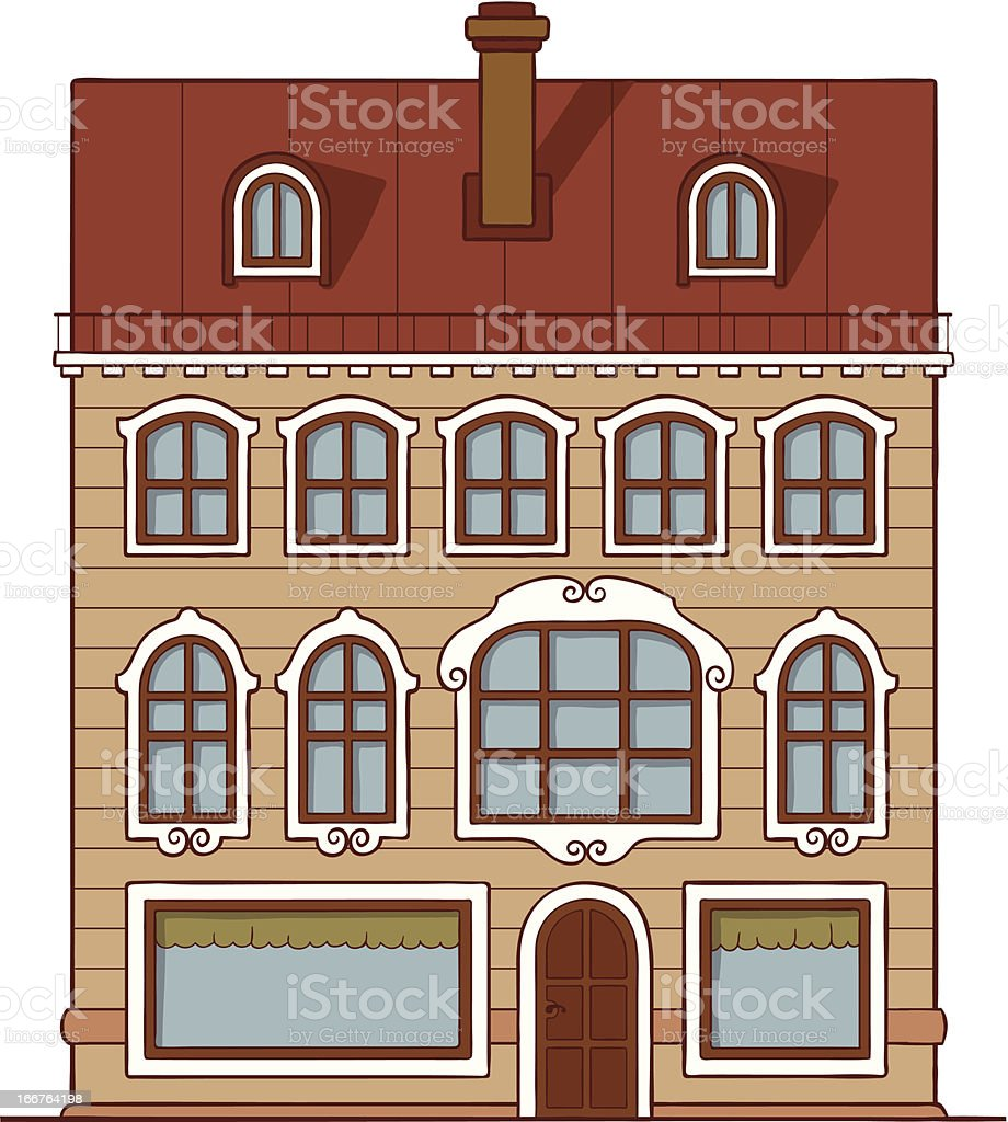 Orange house with red roof royalty-free stock vector art