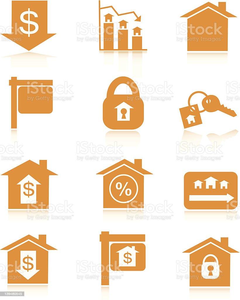 Orange Housing Market Icons royalty-free stock photo
