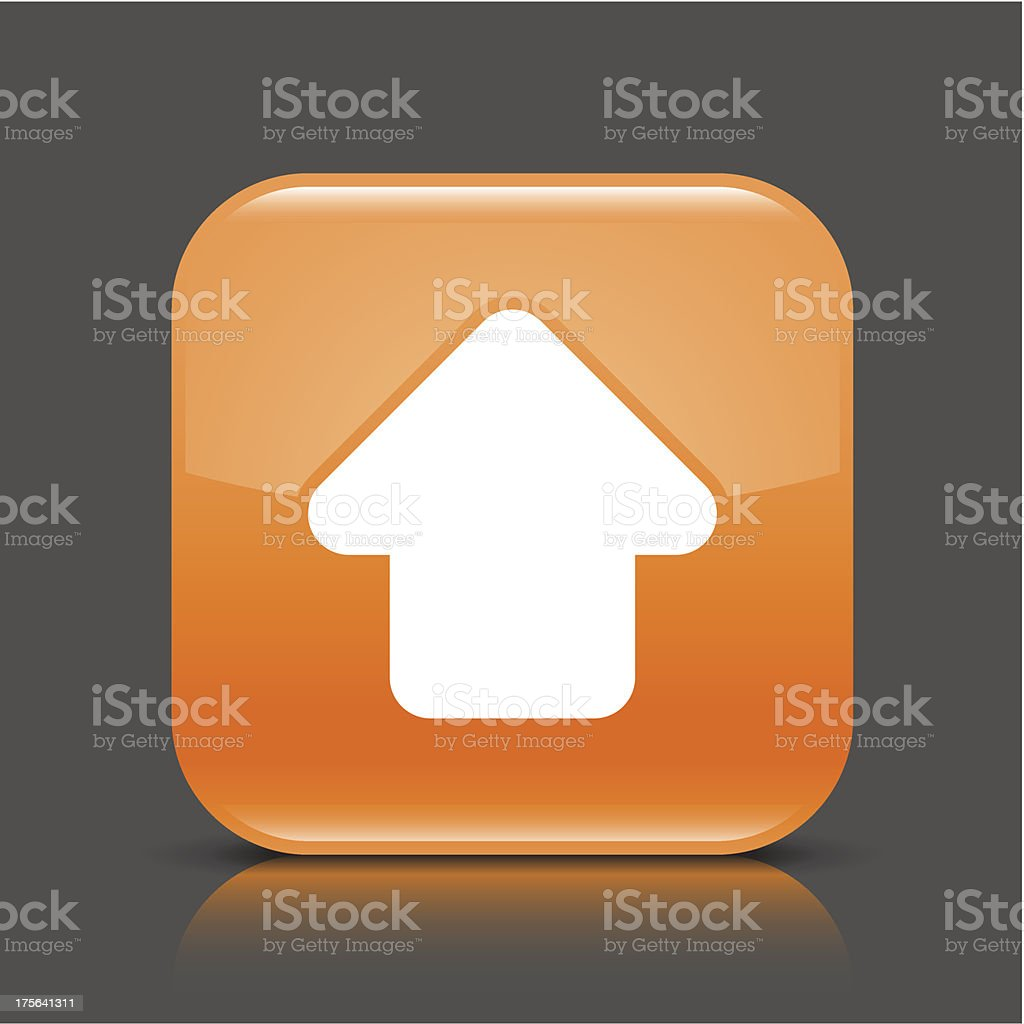 Orange icon arrow upload sign glossy square button royalty-free stock vector art