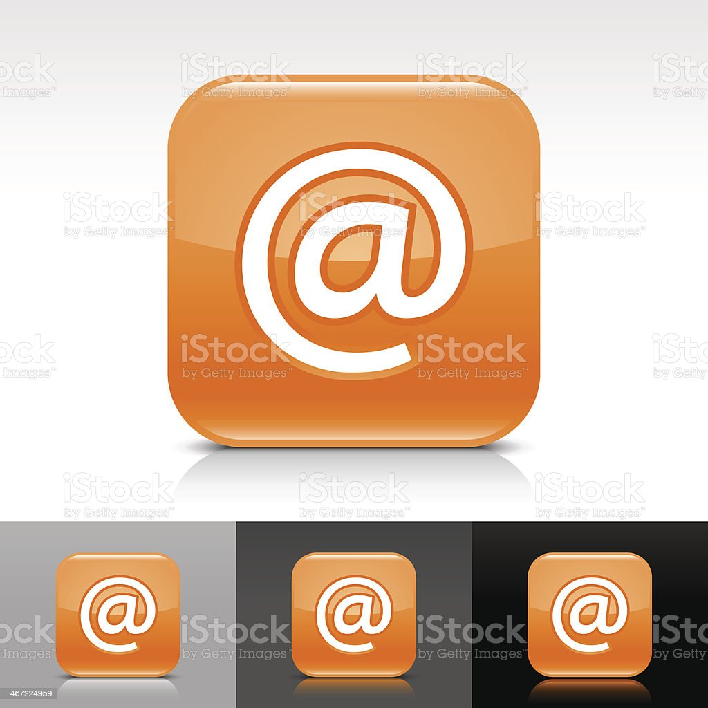 Orange icon at sign glossy rounded square web internet button vector art illustration