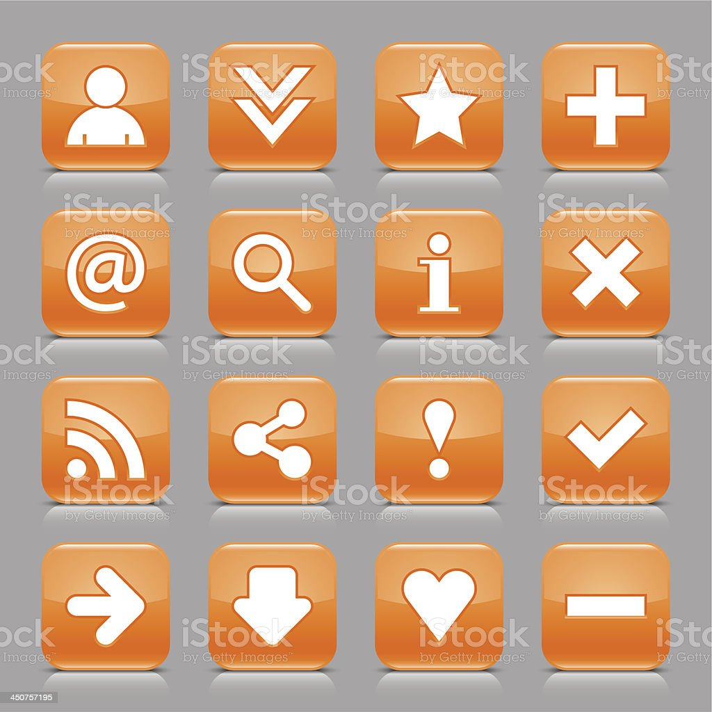 Orange icon basic sign glossy rounded square button gray background royalty-free stock vector art