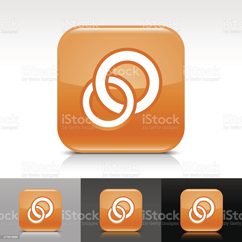 Orange icon circles sign glossy rounded square web button royalty-free stock vector art