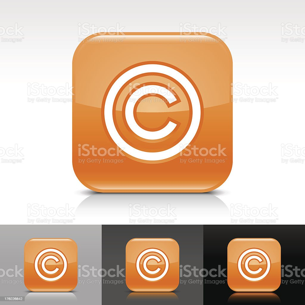 Orange icon copyright sign glossy rounded square web button vector art illustration