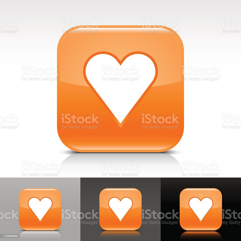 Orange icon heart sign glossy rounded square internet button royalty-free stock vector art