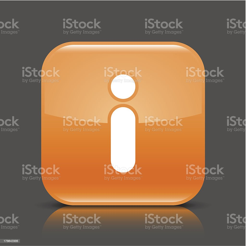Orange icon information sign glossy square web button royalty-free stock vector art