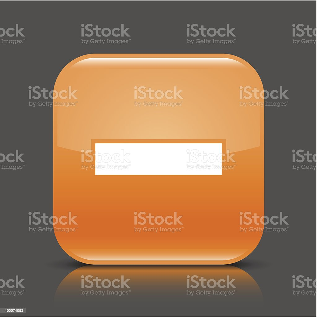 Orange icon minus sign glossy square web button royalty-free stock vector art
