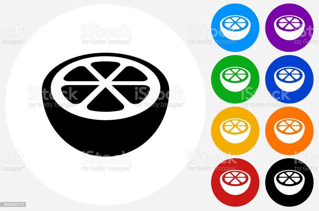 Orange Icon on Flat Color Circle Buttons vector art illustration