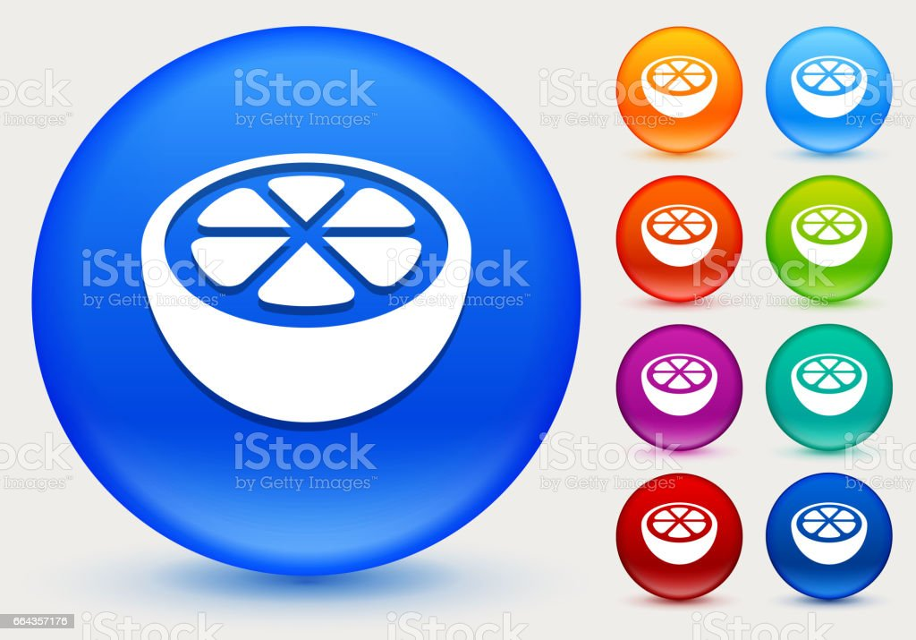 Orange Icon on Shiny Color Circle Buttons vector art illustration