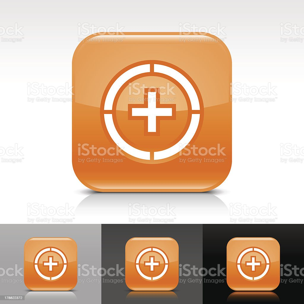 Orange icon plus in circle sign glossy rounded square button royalty-free stock vector art