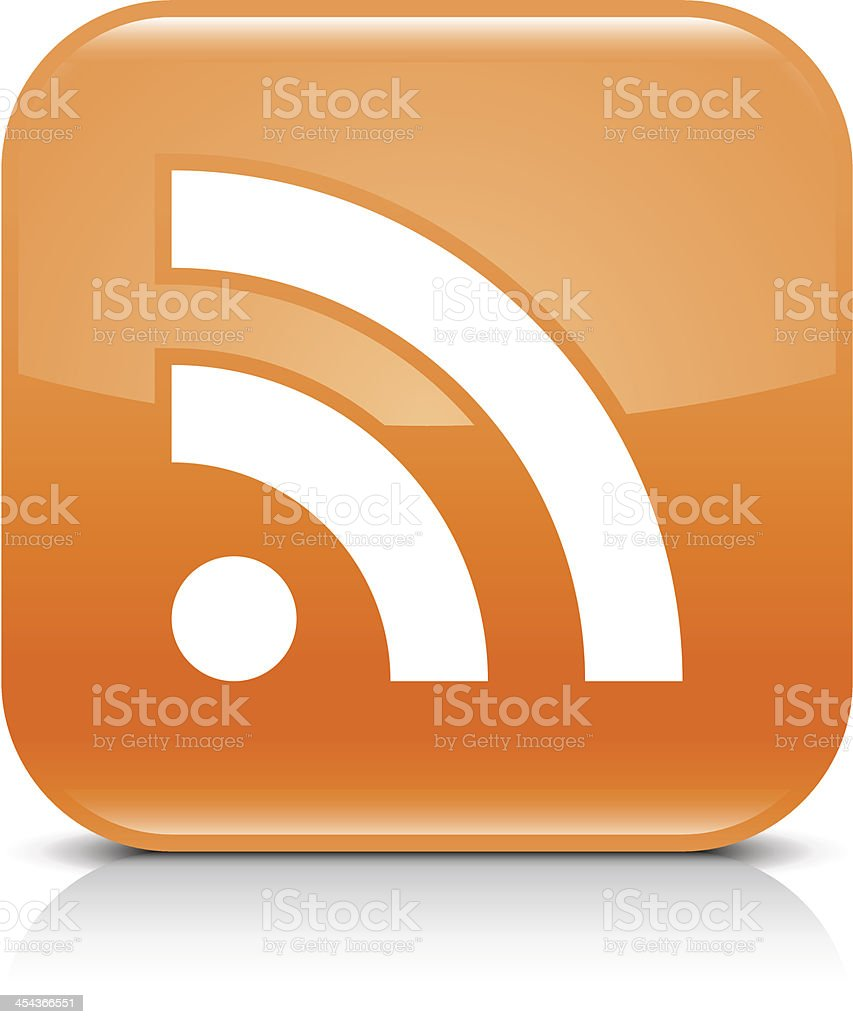 Orange icon RSS sign glossy rounded square web button vector art illustration