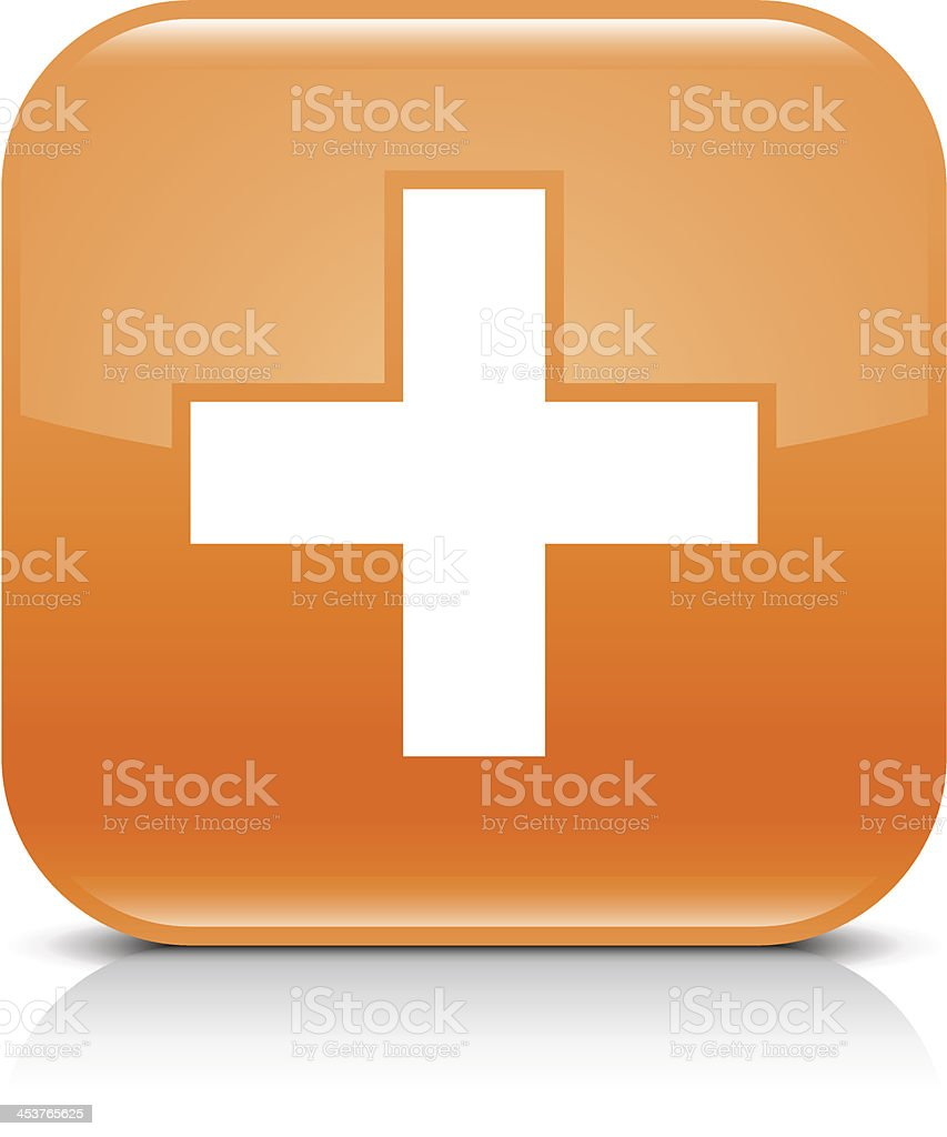 Orange icon share plus sign glossy rounded square web button vector art illustration