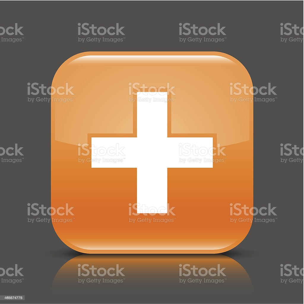 Orange icon share plus sign glossy square web button royalty-free stock vector art