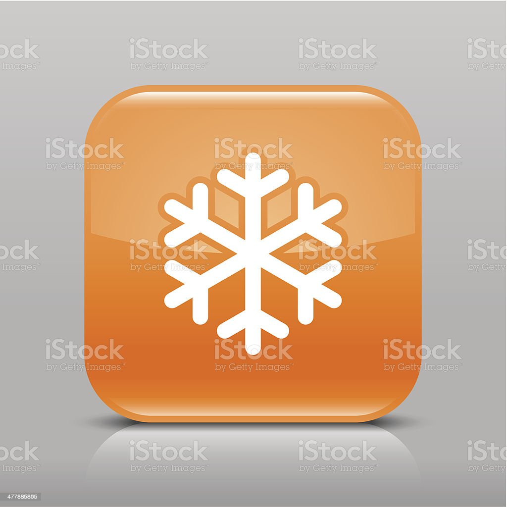 Orange icon snowflake sign glossy square web internet button royalty-free stock vector art