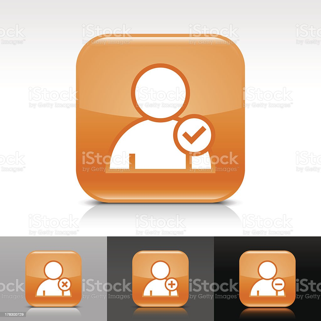 Orange icon user sign glossy rounded square web button vector art illustration