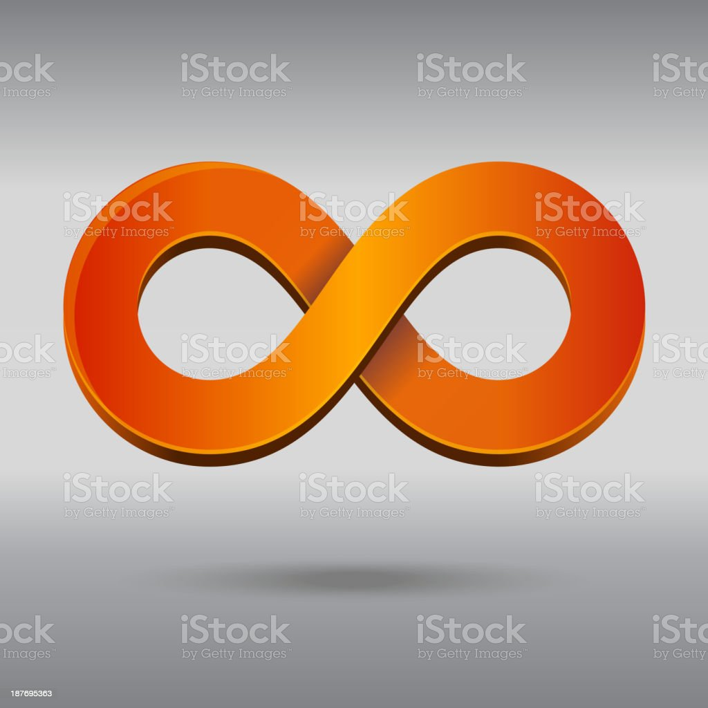 A orange infinity symbol on a gray background royalty-free stock vector art
