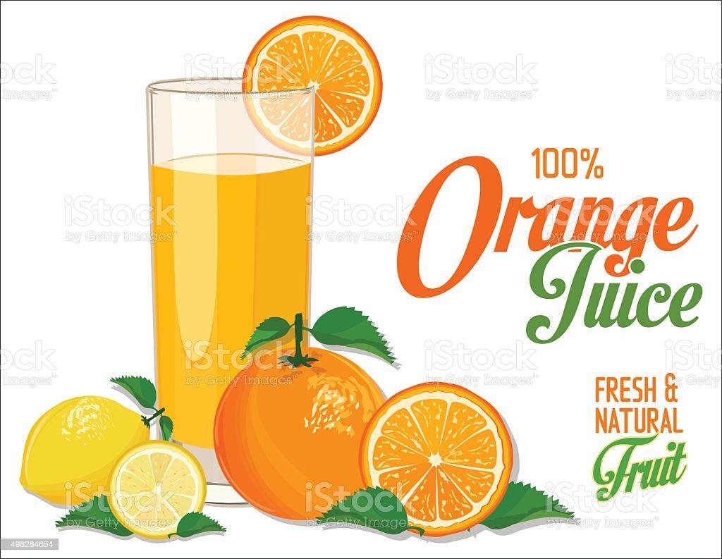 Orange juice background vector art illustration