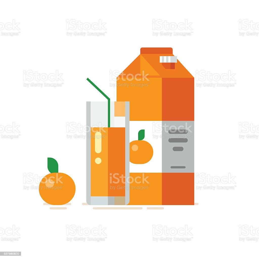Orange juice in glass. Orange juice in carton box vector art illustration